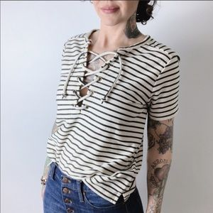MADEWELL Lace Up Nautical Stripe Top
